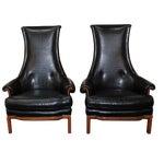 Tomlinson Black Crocodile High-Back Chairs - Pair