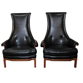 Tomlinson Black Crocodile High-Back Chairs - Pair For Sale
