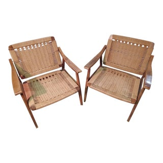 Mid Century Woven Rope and Oak Chairs- a Pair For Sale