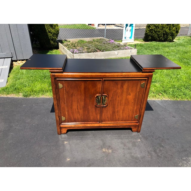 Asian 1970s Thomasville Asian Style Flip Top Bar Cabinet For Sale - Image 3 of 13