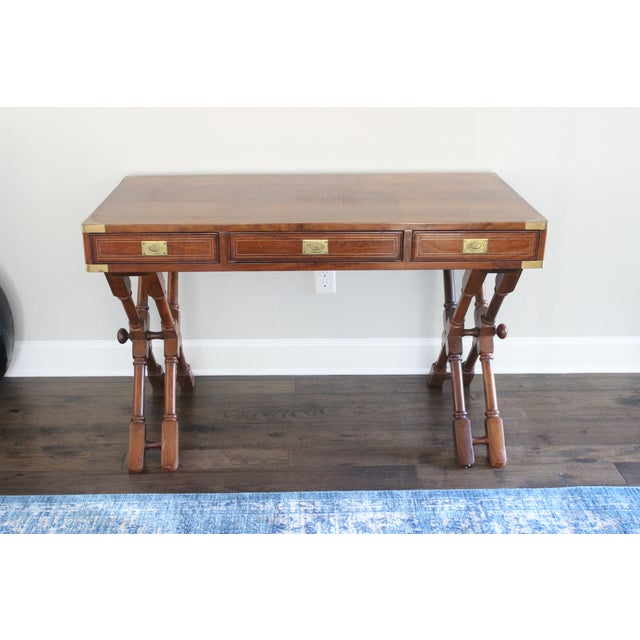 Campaign Style Rosewood & Brass Inlay Desk For Sale - Image 5 of 8