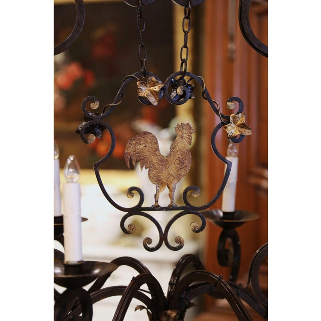 Early 20th Century French Six-Light Iron Chandelier With Center Rooster For Sale - Image 9 of 13