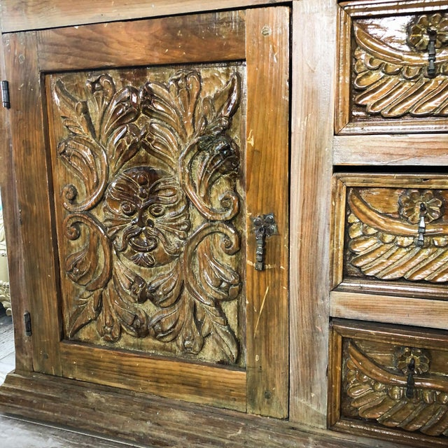 Antique Mexican Hand Carved Wood Sideboard With Cherubs and Green Man Motif For Sale - Image 4 of 11