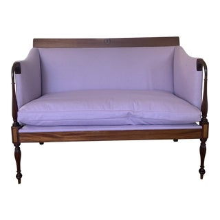 Antique Lavender Wool and Linen Upholstered Federalist Style Settee For Sale