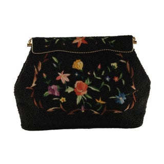 Multicolored Black Glass Beaded Evening Purse For Sale