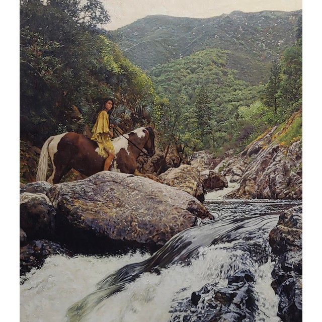 1980s Figurative Oil Painting, Indian Woman on Horseback in a Beautiful Landscape by Craig Tennant For Sale - Image 4 of 10