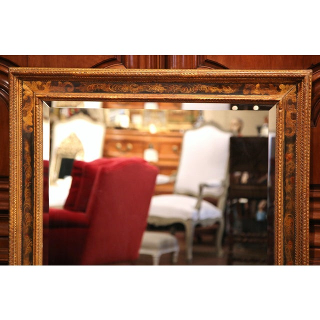 19th Century French Carved Hand-Painted Mirror with Bevelled Glass from Paris - Image 4 of 8
