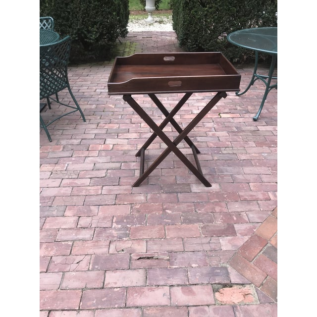 Campaign Campaign Style Mahogany Butlers Tray on Stand—Can Be Shipped in Box by Ups For Sale - Image 3 of 12