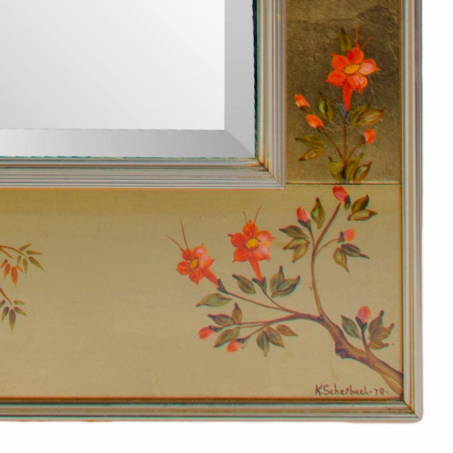 Chinoiserie Labarge Chinoiserie Hand-Painted Églomisé Mirror For Sale - Image 3 of 5