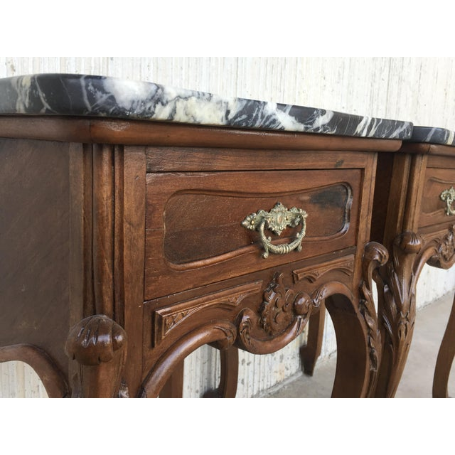 Brown 19th Century Pair of French Louis XV Carved Nightstands For Sale - Image 8 of 12