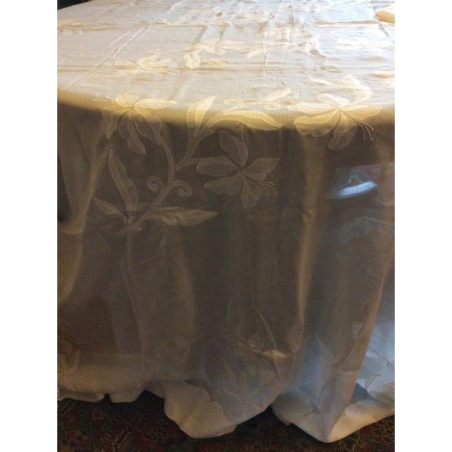 Antique Appliquéd Linen Tablecloth & Napkins - Set of 13 For Sale - Image 11 of 13