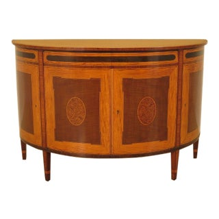 1930's English Traditional Satinwood Inlaid 1/2 Round Commode Chest For Sale