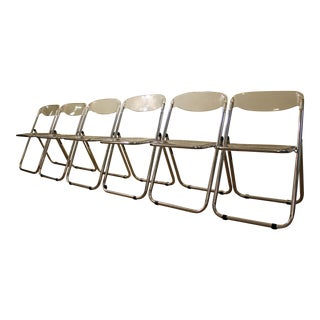 Set of 6 Mid-Century Italian Modern Lucite Chrome Folding Chairs