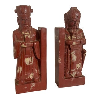 Chinoiserie Deity Stone Bookends For Sale