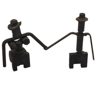 Vintage Tabletop Iron Sculpture of Couple with Joined Hands For Sale