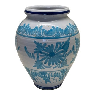 Spanish Blue Ceramic Planter For Sale