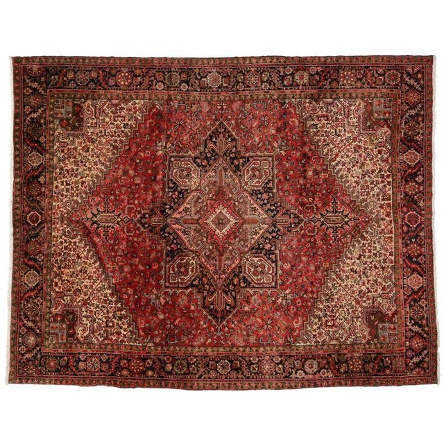 Textile Vintage Persian Heriz Rug with Mid-Century Modern Style For Sale - Image 7 of 8