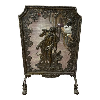 Vintage Antique French Ornate Rare Bronze Fire Screen For Sale