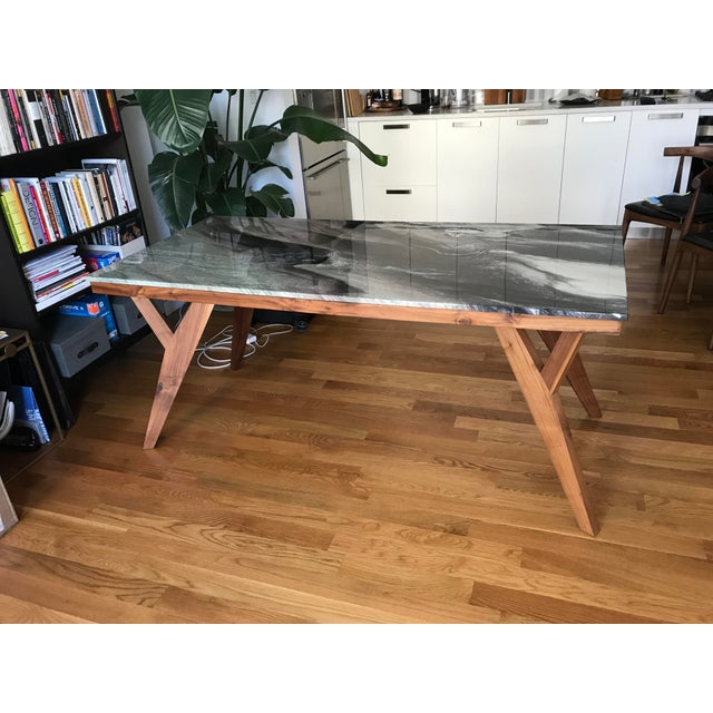 Mid-Century American Marble Top Walnut Table - Image 7 of 7