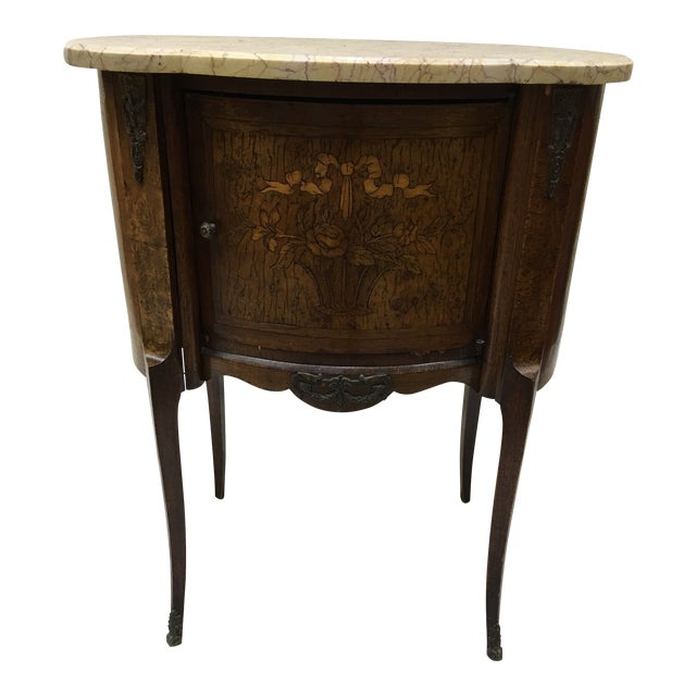 Antique French Inlaid Marble Top and Decorative Bronze Ormolu Side Table For Sale