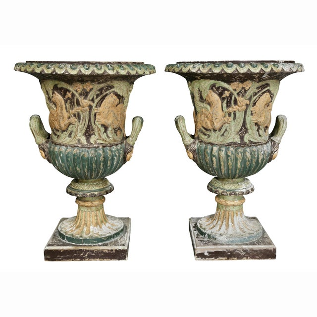 Paint Pair of European Carved and Painted Wood Campagna Form Urns For Sale - Image 7 of 13