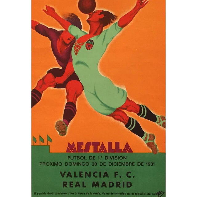 Art Deco Original Vintage 1931 Spain Soccer Poster For Sale - Image 3 of 6