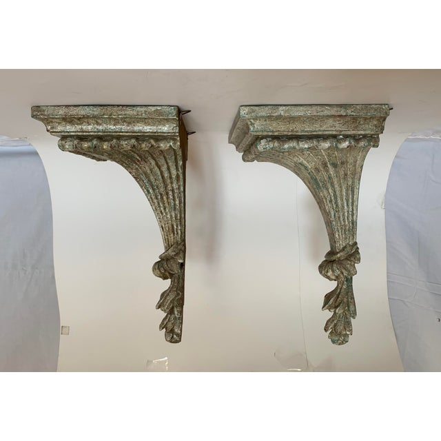 1950s Vintage Italian Carved and Painted Wood Corbel Brackets - a Pair For Sale - Image 4 of 12