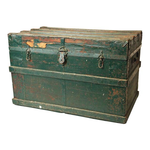 Vintage Industrial Green Wood Steamer Trunk - Image 1 of 11