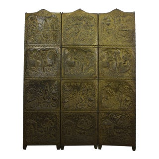 Three Panel Pressed Brass Screen Divider For Sale