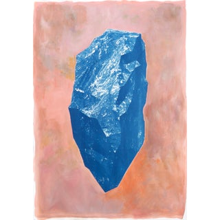 """""""Blue Boulder on Pink"""" 100x70cm Mixed Media on Watercolor Paper, Cyanotype and Acrylic, Burnt Orange and PInk20 For Sale"""