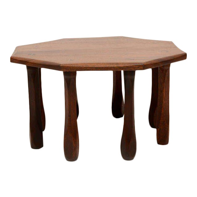 Octagon Solid Mahogany Side Table For Sale
