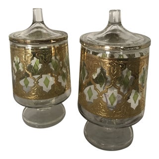 """Culver """"Valencia"""" Gilt Footed Containers - Pair For Sale"""
