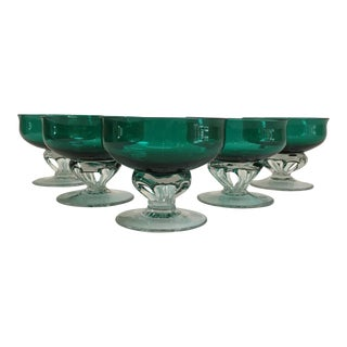 Vintage Emerald Hand-Blown Champagne Coupes - Set of 5 For Sale