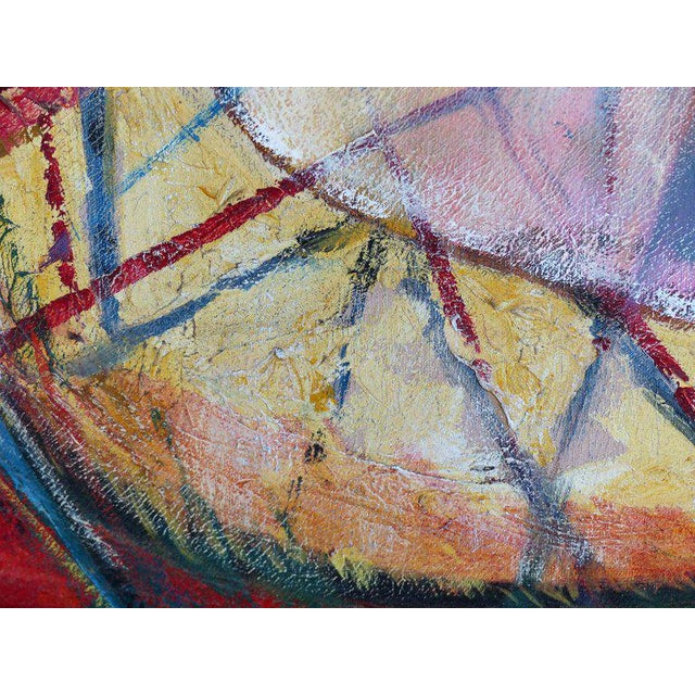 "Canvas 1990s Edith Ferul ""The Bumble Bee"" Abstract Oil on Canvas Painting For Sale - Image 7 of 10"