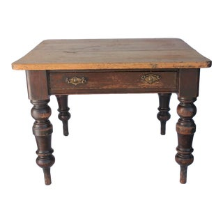 Early 19th C. Antique Turned Leg Table For Sale