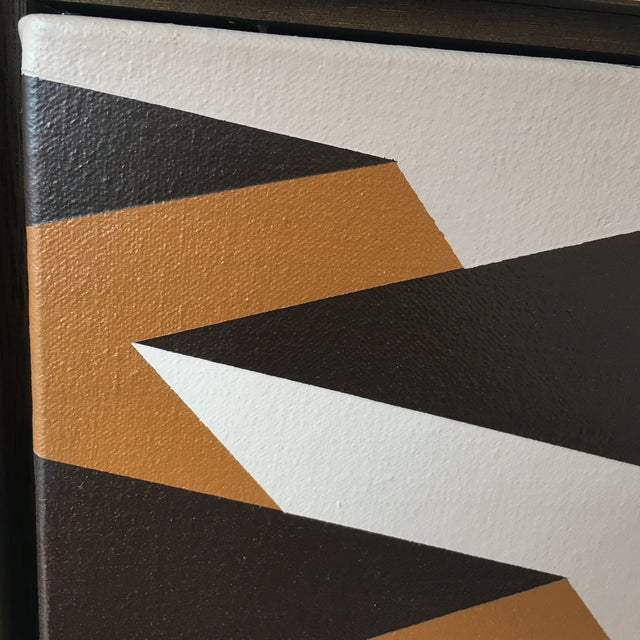 1970s Vintage Artist Signed Geometric Op Art Acrylic on Canvas Monumental Wall Art- 5' X 5' For Sale - Image 5 of 13