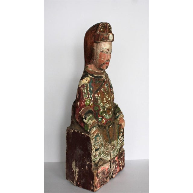 Early Chinese Polychromed Wood Temple Figure - Image 7 of 8