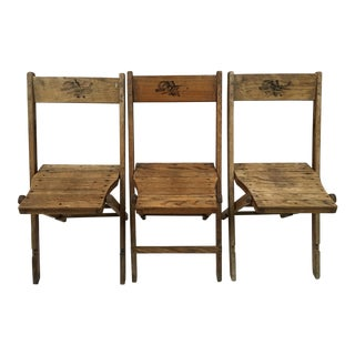 Early 1900s Dowd Wood Folding Chairs - Set of 3 For Sale