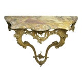Image of 1900s Vintage French Louis XV Rococo Italian Wall Mounted Console Table For Sale