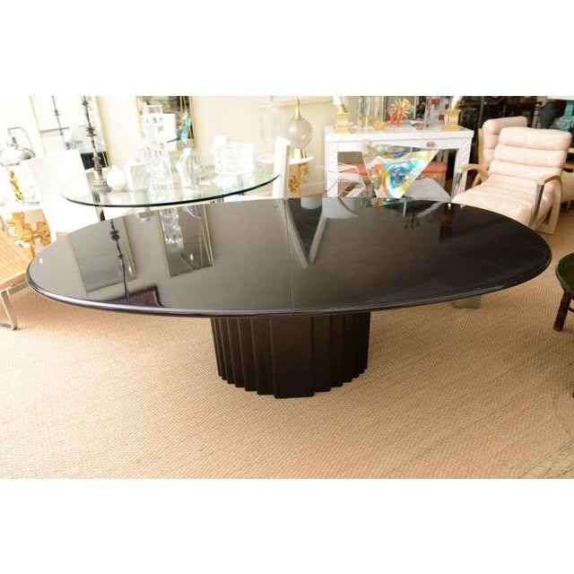 Signed Rothlisberger Ebonized Oval Sculptural And Fluted Dining Table For Sale - Image 10 of 11