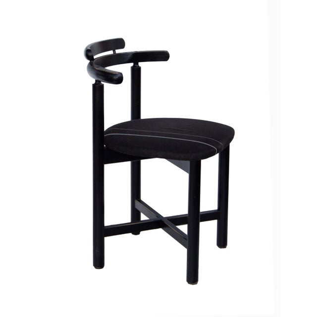 Black Set of 3 Danish Dining Chairs With Striped Seats For Sale - Image 8 of 12