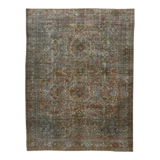 Distressed Vintage Persian Mahal Area Rug with Modern Industrial Style