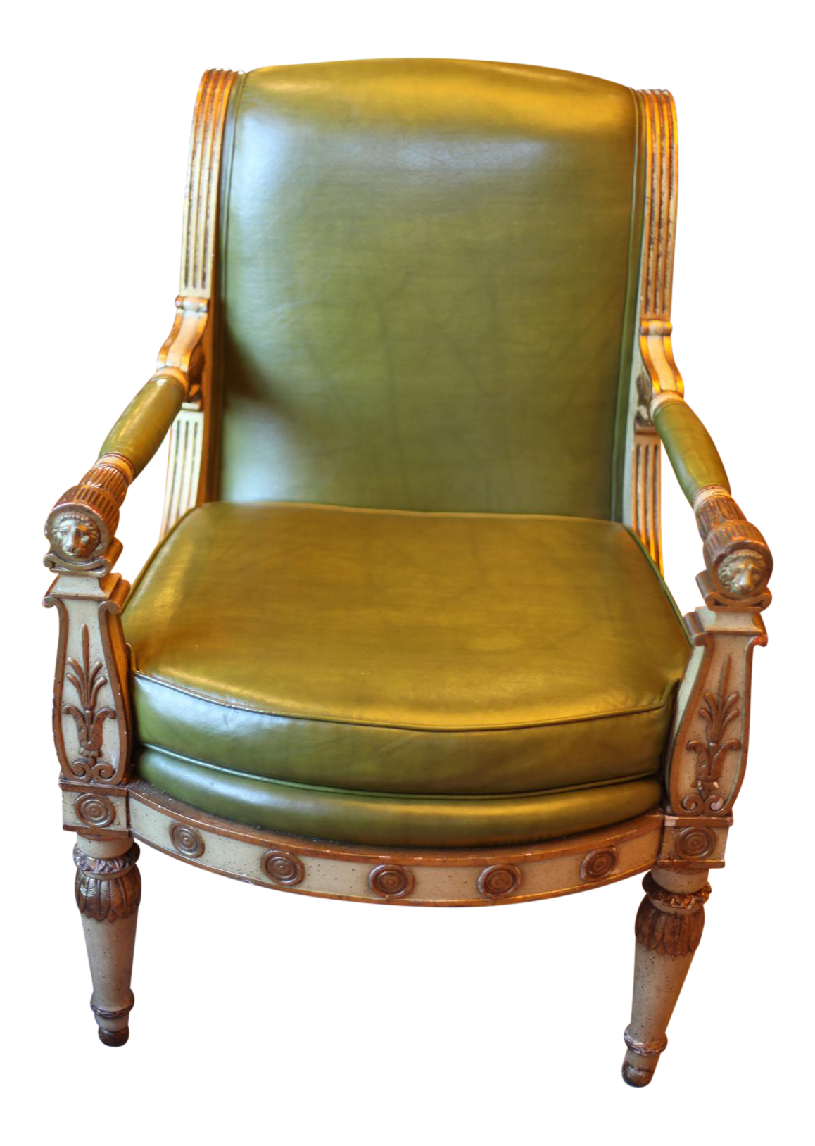 Antique Hollywood Regency Leather Armchair   Image 1 Of 11