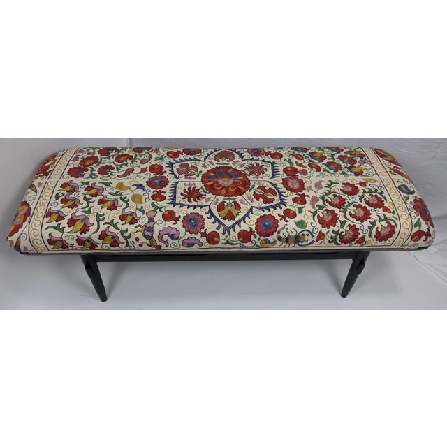 Late 19th Century Antique Suzani Upholstered Bench For Sale - Image 5 of 9