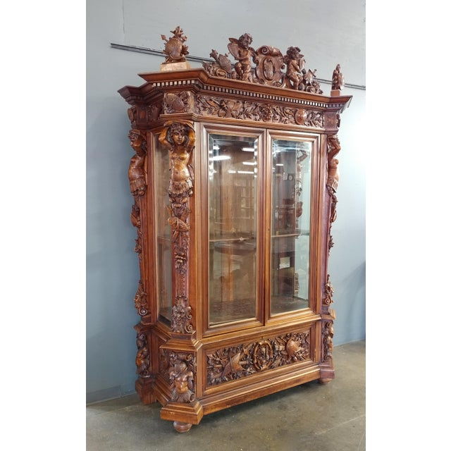 "19th century ""Highly carved"" Italian Renaissance Bookcase bookcase - Image 2 of 10"