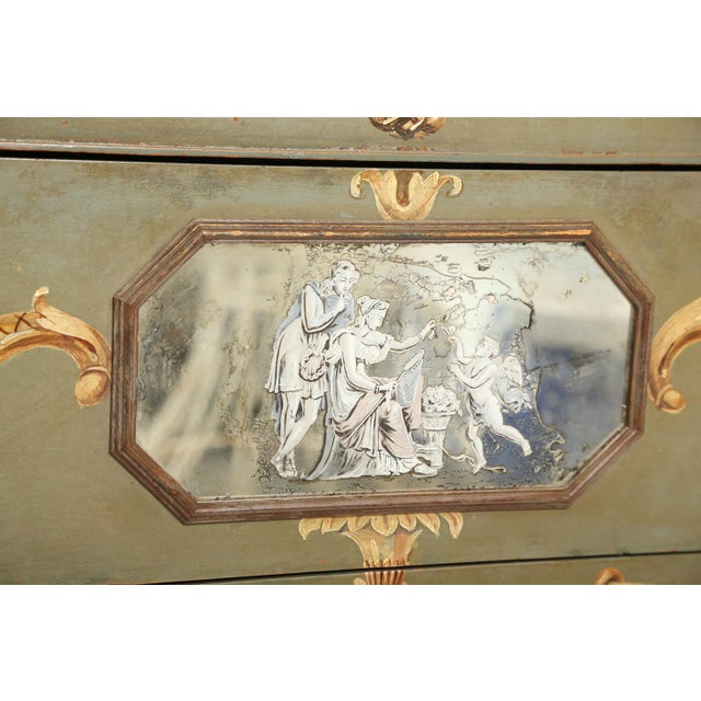 Italian Hand-Painted Italian Commode With Églomisé Plaque For Sale - Image 3 of 10