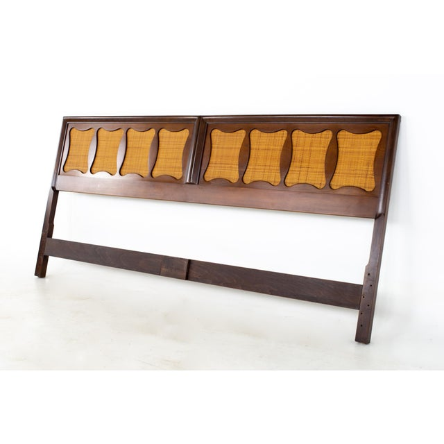 Mid-Century Modern Kent Coffey Greenbrier Style Mid Century Walnut and Rattan King Headboard For Sale - Image 3 of 5