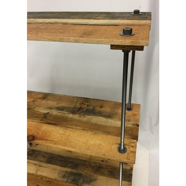 Adjustable Height Industrial Style 3-Shelf Pallet Wood Bookcase For Sale - Image 4 of 13