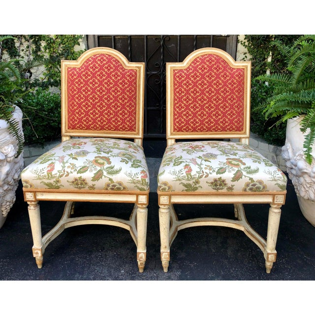 French Antique Louis XVI Maison Jansen Side Chairs - a Pair For Sale - Image 3 of 6