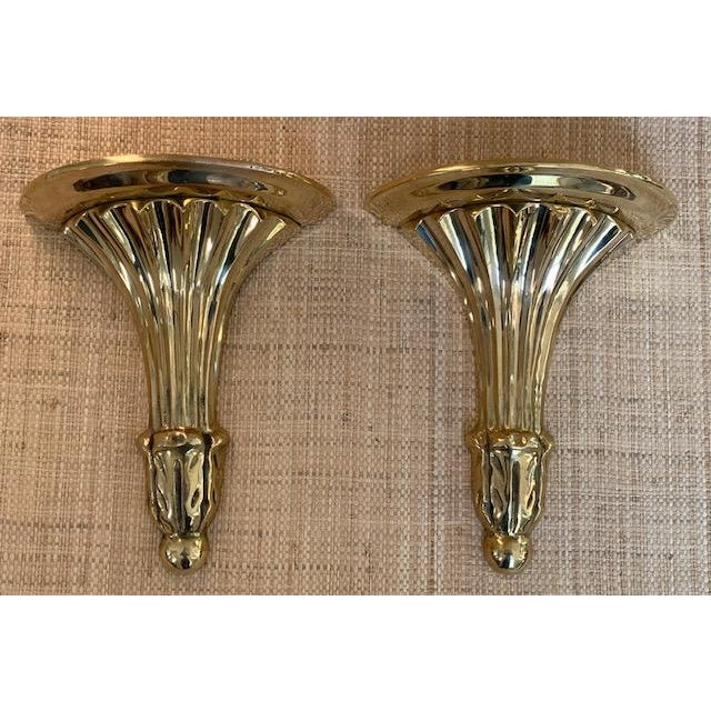 French Vintage Brass Fluted Wall Shelves/Brackets For Sale - Image 3 of 7